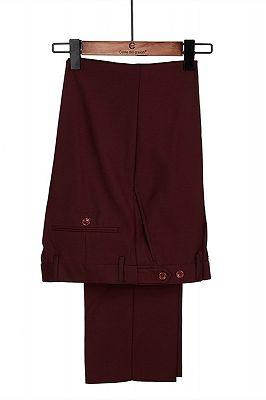 Harrison Burgundy Peaked Lapel One Button Men Suits_4