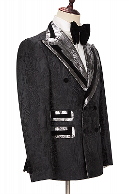 Braxton Fashion Black Peaked Lapel Double Breasted Men Suits Online_3