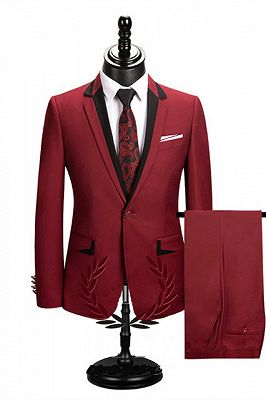 Jace Stylish Red Slim Fit Notched Lapel One Button Men Suits Online