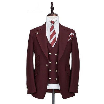 Harrison Burgundy Peaked Lapel One Button Men Suits_5
