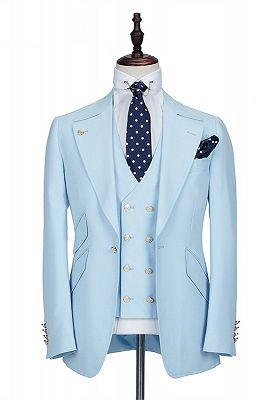 Andre Sky Blue Stylish Peaked Lapel Best Fit Men Suit for Prom_1