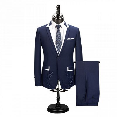 Bryson Dark Navy One Button Men Suits for Business_2