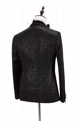 Stylish Velvet Lapel Double Breasted Prom Suit | Belt Leopard Black Jacquard Men's Suit for Wedding_5
