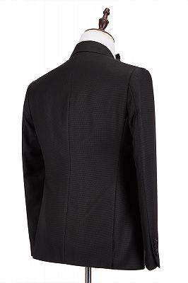 Classic Satin Peak Lapel Double Breasted Black Men's Wedding Suit Groom Tuxedos_2