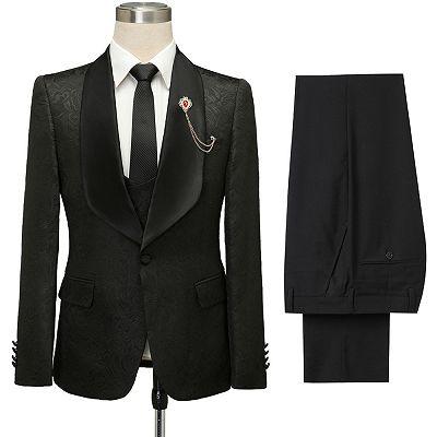 Bradley Stylish Black Jacquard Shawl Lapel Wedding Suits_5