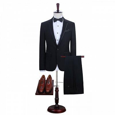 Manuel Simple Black One Button Fashion Men Suits Online_2