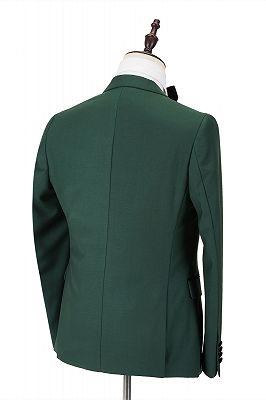 Black Peak Lapel Dark Green Men's Wedding Suit   Velvet Banding Edge Formal Suit_2