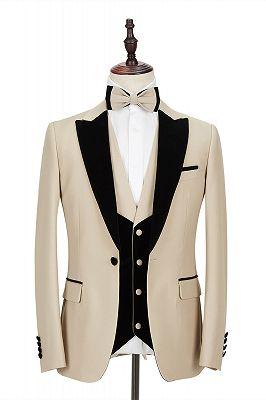 Black Peak Lapel Champagne Wedding Suit | Velvet Banding Edge Formal Suit for Men_1