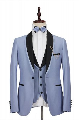 Modern Light Blue Stitching Black Shawl Lapel One Button Men's Formal Suit for Wedding_1