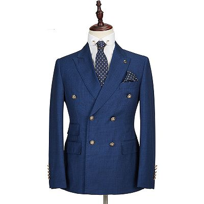 Avery Dark Blue Peaked Lapel Double Breasted Formal Men Suits_4