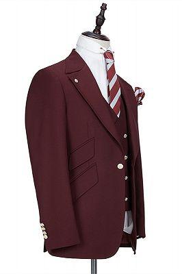 Harrison Burgundy Peaked Lapel One Button Men Suits_2