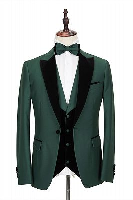 Black Peak Lapel Dark Green Men's Wedding Suit   Velvet Banding Edge Formal Suit_1