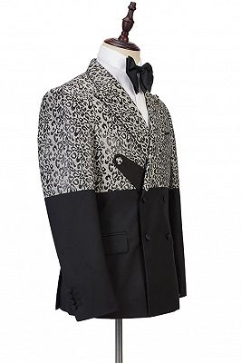 Ryder Cool Leopard Print Black Double Breasted Men Suits_3