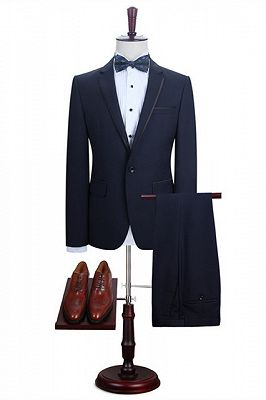 Grayson Dark Navy Notched Lapel Fashion Best Men Suits Online