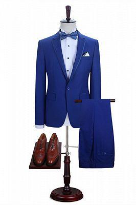 Abraham Royal Blue One Button Notched Lapel Men Suits for Prom_1