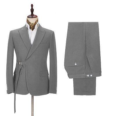 Elegant Dark Gray Men's Formal Suit | Buckle Button Suit for Groomsmen_2