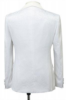 Miles White Jacquard Slim Fit Shawl Lapel Wedding Suits_2
