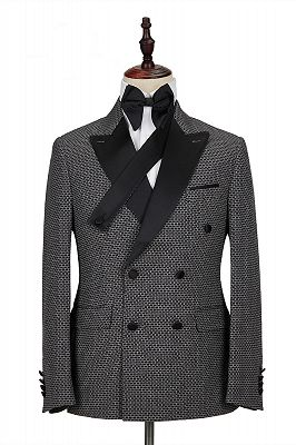 Modern Black-and-Gray Cruciform Satin Peak Lapel Double Breasted Men's Formal Suit_1