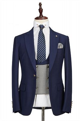 Maddox Navy Blue Peaked Lapel Formal Business Men Suits Online_1