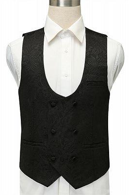 Bradley Stylish Black Jacquard Shawl Lapel Wedding Suits_3