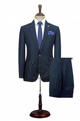 Spencer Dark Navy Fashion Notched Lapel Men Suits with One Button