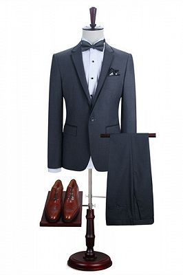 Kaiden Dark Gray Bespoke Formal Notched Lapel Business Men Suits