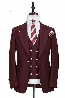 Harrison Burgundy Peaked Lapel One Button Men Suits_1