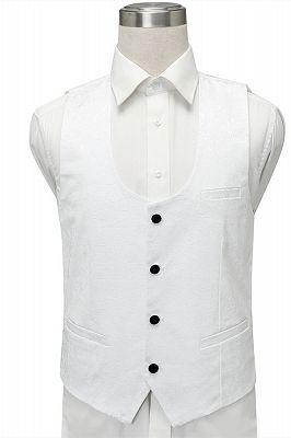 Fernando White Jacquard One Button Wedding Men Suits with Black Lapel_4