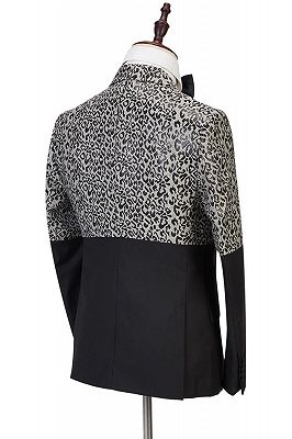 Ryder Cool Leopard Print Black Double Breasted Men Suits_4
