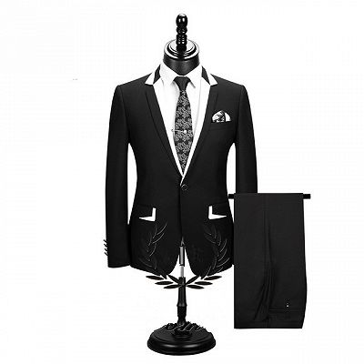 Erick Fashion Black Two Pieces Formal Business Men Suits_2