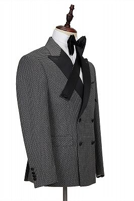 Modern Black-and-Gray Cruciform Satin Peak Lapel Double Breasted Men's Formal Suit_3