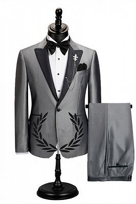 Shawn Gray Stylish Peaked Lapel Slim Fit Business Men Suits_1