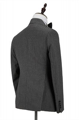 Modern Black-and-Gray Cruciform Satin Peak Lapel Double Breasted Men's Formal Suit_2