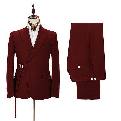 Stylish Peak Lapel Buckle Button Formal Burgundy 2 Piece Men's Casual Suit Online_2