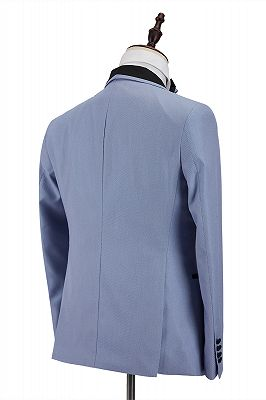 Modern Light Blue Stitching Black Shawl Lapel One Button Men's Formal Suit for Wedding_2