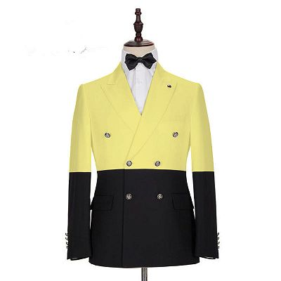 Taylor Yellow Fashion Slim Fit Double Breasted Prom Outfits for Guys_2