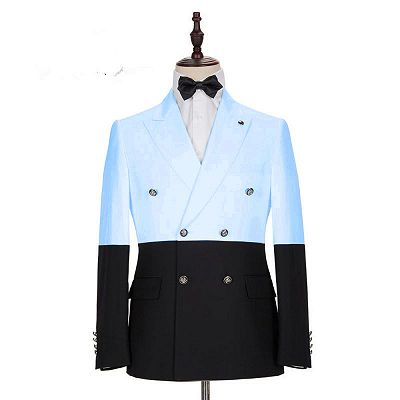Simon Fashion Sky Blue Double Breasted Men Suits with Peaked Lapel_2