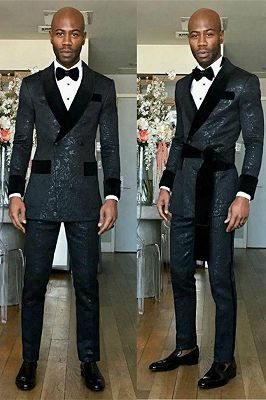 Kingston Black Shawl Lapel Double Breasted Slim Fit Wedding Groom Suits_1