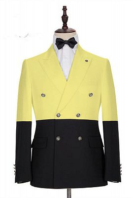 Taylor Yellow Fashion Slim Fit Double Breasted Prom Outfits for Guys_1
