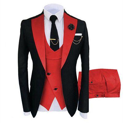 Griffin Black Three Pieces Peaked Lapel One Button Men Suits Online_2