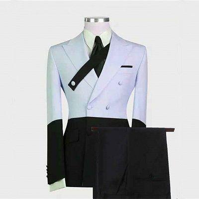 Devon Sky Blue Fashion Peaked Lapel Prom Men Suits Online_2