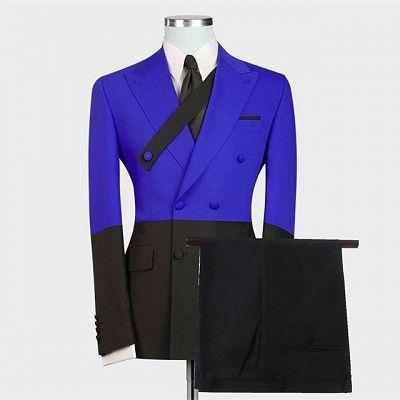 Ezekiel Royal Blue Double Breasted Peaked Lapel Prom Men Suits Online_2