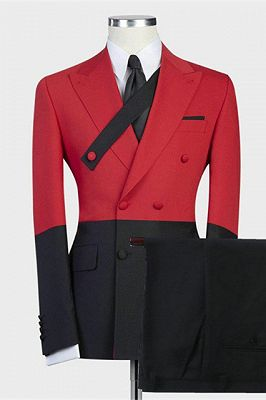 Griffin Red Double Breasted Slim Fit Stylish Men Suits for Prom_1