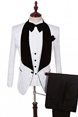 Dillon White Three Pieces Fashion Jacquard Shawl Lapel Wedding Suits