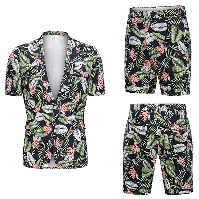 tylish Hawaiian Leaf Printed Summer Men's Suit | 2 Piece Casual Short Cotton Suits for Beach_5