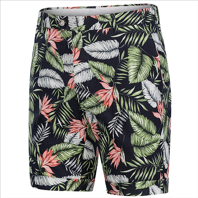 tylish Hawaiian Leaf Printed Summer Men's Suit | 2 Piece Casual Short Cotton Suits for Beach_4