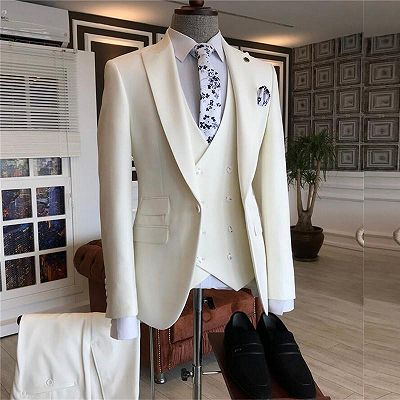 Caiden White Three Pieces Peaked Lapel Bespoke Men Suits for Wedding_2