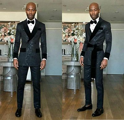 Kingston Black Shawl Lapel Double Breasted Slim Fit Wedding Groom Suits_2