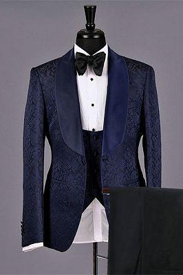 Lukas Dark Navy Jacquard Fashion Jacquard Bespoke Wedding Suits for Men_1