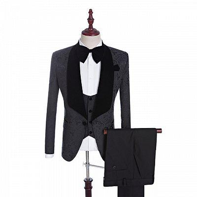 Xander Black Jacquard Three-Pieces Shawl Lapel Wedding Suits for Men_2